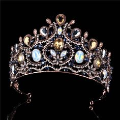 1/2 Inch Height Imperial Vintage Barnoque Jeweled Protein Color Crystal Pink Marquise Rhinestone Tiaras Coffee Gold Pl