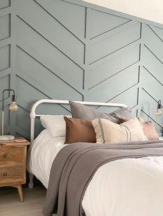 Chevron wall panelling painted in Farrow & Ball De Nimes Bedroom Inspo, Home Bedroom, Master Bedroom, Bedroom Decor, Cama Chevron, Chevron Walls, Chevron Wall Decor, Accent Wall Bedroom, Accent Walls