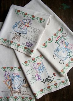 Vintage Embroidered Dish Towel  Adventures In by theuniquebird, $8.50 EACH