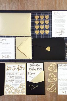 """This stunning wedding invitation suite features an Ultra Black signature pocket, Gold Leaf """"Diamonds"""" laser cut slide-in card, and Gold Leaf envelopes! Pocket Invitation, Laser Cut Wedding Invitations, Printable Wedding Invitations, Wedding Stationery, Invitation Cards, Invitation Suite, Invitation Wording, Invite, Black And Gold Invitations"""