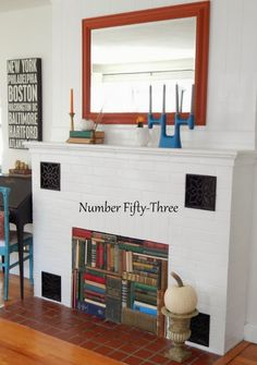 Number Fifty-Three: Vintage Book Fireplace & Fall Mantel