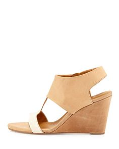 Jojo Leather T-Strap Wedge, Nude by Coclico at Neiman Marcus.