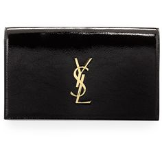 Saint Laurent Monogram Leather Clutch Bag ($1,050) ❤ liked on Polyvore featuring bags, handbags, clutches, black, leather flap handbag, black handbags, real leather purses, black leather clutches and genuine leather purse