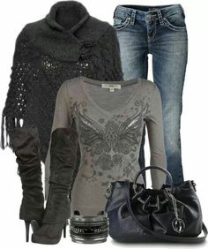 Pin by debbie reed on casual fashion, outfits, women Cute Fashion, Look Fashion, Fashion Outfits, Womens Fashion, Fall Fashion, Fashion Check, Fashion Clothes, Trendy Fashion, Winter Outfits