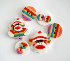Button Stripe Sockmonkey handmade polymer clay buttons ( 6 ) on Etsy, $8.50