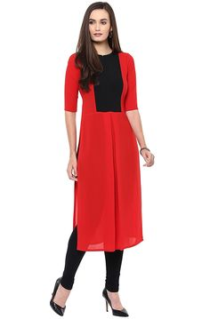 Libas Women's Red Synthetic Straight Kurta  Material: Synthetic Colour : Red Coloured Casual wear kurta Round neck, 3/4 sleeve Straight fit, Calf length Hand wash with cold water