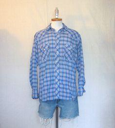 Vintage 70s PLAID WRANGLER WESTERN Country Medium Large Soft Thin Snap Button Cowboy Shirt