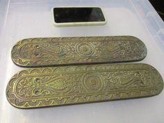 Victorian Brass Finger Plates Push Door Handles Architectural Antique Vintage #Victorian