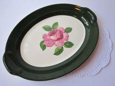 Vintage Taylor Smith Taylor Pink Green Rose Serving by jenscloset