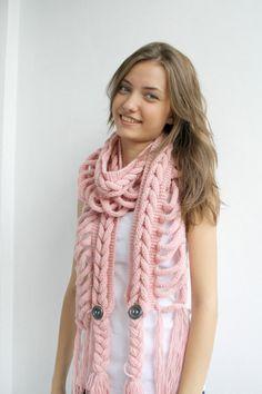 Pale Pink Wool Scarf with Dark Gray Button Mothers by denizgunes