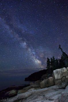 Otter Cliffs Milky Way by Jack Fusco, via 500px; Acadia National Park, Maine
