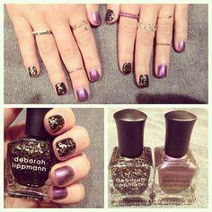 Glitter + metallic Deborah Lippmann for #ManiMonday