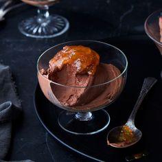 Maria Speck's Greek Yogurt Chocolate Mousse recipe on Chocolate Greek Yogurt, Dark Chocolate Mousse, Chocolate Mousse Recipe, Chocolate Desserts, Healthy Desserts, Dessert Recipes, Food 52, Food Photography, Favorite Recipes
