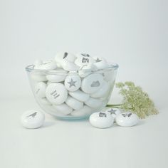 East of India pretty porcelain pebbles with pictures and messages