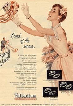"Palladium rings advertisement, 1950s. Palladium - ""the newest of precious jewelry metals."""