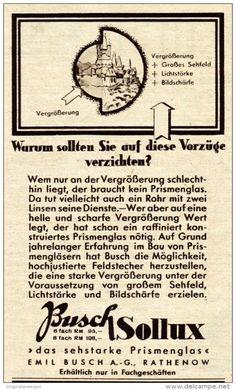 Original-Werbung / Anzeige 1938 - BUSCH SOLLUX PRISMENGLAS - RATHENOW - ca. 65 x 115 mm