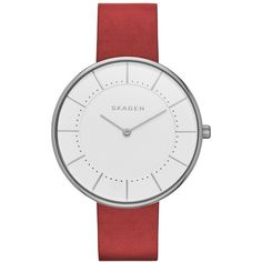 Women's Skagen Gitte Round Leather Strap Watch, 38Mm ($95) ❤ liked on Polyvore featuring jewelry, watches, leather-strap watches, round watches, skagen jewelry, skagen and skagen wrist watch