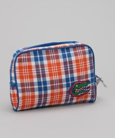 Take a look at this Blue & Orange Plaid Florida Large Cosmetic Bag by Pomegranate Collegiate on #zulily today!