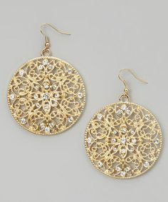 Another great find on #zulily! Gold & Crystal Filigree Drop Earrings #zulilyfinds