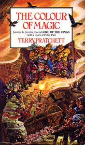 """The Colour of Magic is a 1983 comic fantasy novel by Terry Pratchett, and is the first book of the Discworld series. Pratchett has described it as """"an attempt to do for the classical fantasy universe what Blazing Saddles did for Westerns."""""""