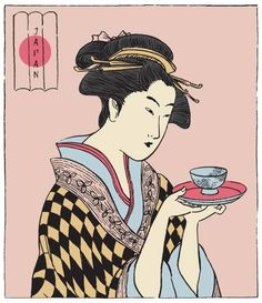 A Japanese woman holding a cup of tea. Abstract Geometric Art, Abstract Drawings, Abstract Print, Abstract Shapes, Japan Illustration, Japanese Poster, Japanese Prints, Asian Tea, Oriental