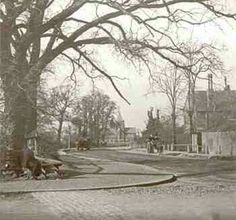 Bromley Road, Catford, Lewisham, c. 1895. This view looks north along Bromley Road towards Catford from the corner of Berlin Road St. Lawrence's Church is seen in the background. These sections of Bromley Road and Berlin Road (renamed Canadian Avenue in 1918) were built between 1880 and 1905 and had some of the largest houses in Catford.On the right is Sangley Farm, later the Priory House School (now demolished). Victorian London, Vintage London, Old London, East London, London History, Local History, St Lawrence, Fair Lady, Historical Pictures