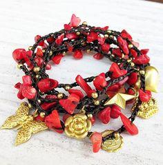 Multi charmes en rode koraal Stone 7 x Wrap van Summerwrist op Etsy