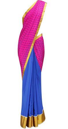 Blue and Pink Saree with Gold border by MASABA. Shop at https://www.perniaspopupshop.com/whats-new/masaba-5207