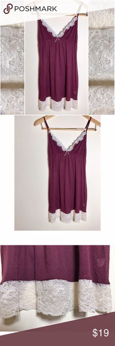 VS babydoll nighty Nightly slip by Victoria's Secret - sheer and lace | good quality lace (not the stringy kind) | maroon and cream | pre- loved condition but really good condition | cute with leggings and booties and a cardigan or wear as a nighty Victoria's Secret Intimates & Sleepwear Chemises & Slips