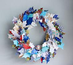 Recycled Christmas card wreath