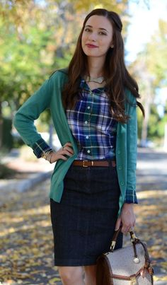 Plaid +cardigan+ denim pencil skirt (swap for navy skirt) Plaid Shirt Outfits, Komplette Outfits, Modest Outfits, Skirt Outfits, Fall Outfits, Casual Outfits, Country Outfits, Flannel Shirts, Plaid Shirts For Women
