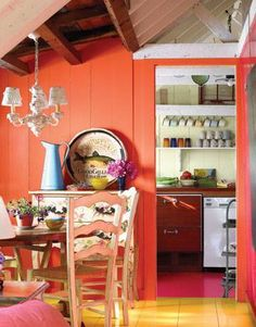 I love the salmon color for like a crafts room or something