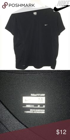 """Nike Fit Dry Black V Neck Ladies Workout Shirt •Size: Medium 8 - 10 •Color: Black •Sleeve style: short •Chest: 19"""" armpit to armpit •Length: 22""""  •Excellent condition •Fabric content: poly spandex • •**When you bundle 2 or more items from my closet in the same transaction, you get a discount on the items and only pay shipping ONCE** Nike Tops"""