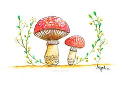 Toadstool mushroom original illustration/mushroom illustration/fungi illustration/nature themed illustration/home decor/watercolor painting
