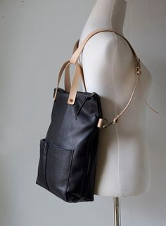 Leather Foldover Day Bag Black with Tan Straps by Awl by AwlSnap