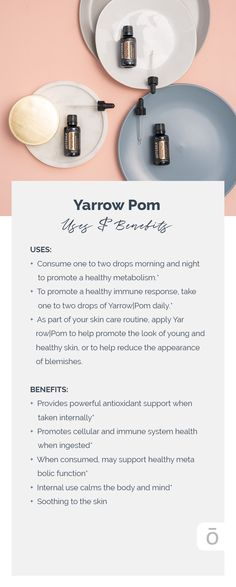 doTERRA® Yarrow|Pom delivers the topical and internal benefits of blue yarrow essential oil in a base of antioxidant-rich pomegranate seed oil.* This nutritive duo is beautifying to the skin and offers many wonderful benefits when taken internally.