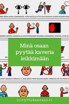 Kun en ymmärrä mitä minun pitää tehdä (koulu) - Viitottu Rakkaus Finnish Language, Social Skills, Pre School, Teaching, Feelings, Comics, Kids, Toddlers, Young Children