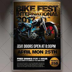 Bike Fest International - Premium Flyer PSD Template.  #biker #bikers #motocross #motor #motorcycle #motorcyclist #race #racing #sport #suprtcross #tournament #garage  DOWNLOAD PSD TEMPLATE HERE: https://www.psdmarket.net/shop/bike-fest-international-premium-flyer-psd-template/  MORE FREE AND PREMIUM PSD TEMPLATES: https://www.psdmarket.net/shop/