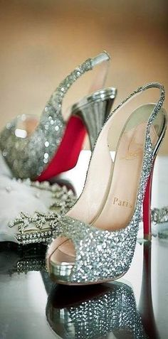 Perfection! Christian Louboutin silver shoes