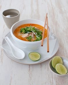 Chicken & Broccolini Laksa  Ingredients12WBT Thai Laksa  1g Olive oil spray  1 tablespoon Laksa paste  2 cups Chicken stock  1 can Light coconut flavoured evaporated milk  200g Raw, lean chicken breast, thinly sliced  1 bunch Broccolini  120g Bean shoot  1/4 bunch Mint  1/4 bunch Fresh coriander  1 medium Lime, cut into wedges to serve