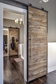 Sliding barn door design ideas for your home with mirror, window. Interior and exterior sliding barn door for your bathroom, bedroom, closet, living room. House Design, New Homes, House Styles, House Interior, Door Design, Home, Sliding Doors Interior, Sliding Doors, Modern House