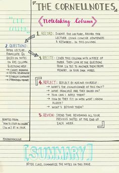 Cornell Notes  High School English    Cornell Notes