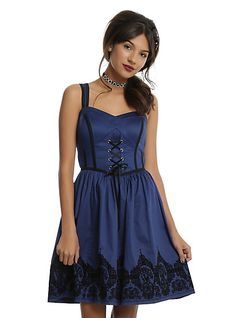 Blue & Black Filigree Border Ball GownBlue & Black Filigree Border Ball Gown, BLUE