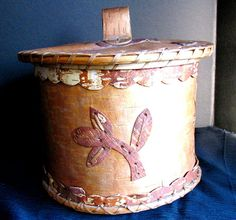 Indian Basket, Birch Bark with Lid, Applique, Old Native American Birch Bark Baskets, Indian Baskets, Animal Help, Native Indian, First Nations, Spirit Animal, Nativity, Applique, Antiques