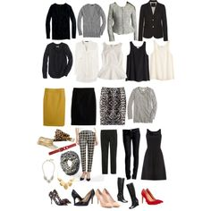 Heavy Rotation Fall Work Capsule Wardrobe by wrymommy on Polyvore featuring Cynthia Rowley, J.Crew, H&M, LOFT, Mossimo, Halogen, Gap, Nine West, Sole Society and BCBGeneration