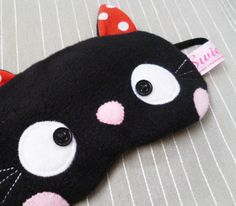 FREE SHIPPING Sleeping Eye Mask Kawaii Black by SwiedebieCreative