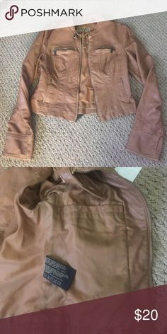 Tan faux leather jacket Tan faux leather jacket . 4 pockets and a hidden one inside . Big Chill Jackets & Coats