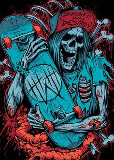 Showcase of Creepy Illustrations Featuring Skulls and Skeletons Skate Rock, Skate Art, Skateboard Design, Skateboard Art, We All Mad Here, Vexx Art, Graffiti Wallpaper Iphone, Arte Punk, Rock Poster