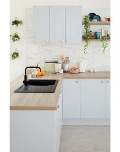 Pearlini's soft, timeless grey tones works wonders with our frosted oak textured laminate benchtop! Wooden Benchtop Kitchen, Wooden Kitchen Bench, Laminate Benchtop, Kitchen Benchtops, Kitchen Tops, Diy Kitchen, Kitchen Interior, Kitchen Design, Kitchen Ideas