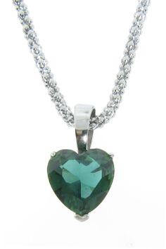Emerald Heart Pendant Necklace.